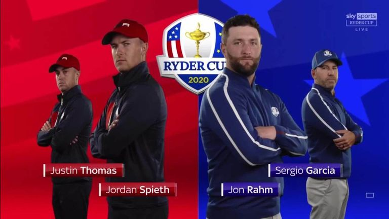 Highlights from Sergio Garcia and Jon Rahm's foursomes victory over Jordan Spieth and Justin Thomas, where the Spanish duo claimed a 3&1 win