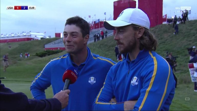 Tommy Fleetwood and Viktor Hovland reflect on claiming a share of the spoils in their match against Justin Thomas and Patrick Cantlay