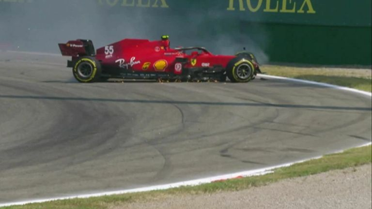 Carlos Sainz's huge crash in his Ferrari brought out the red flag during second practice at the Italian Grand Prix