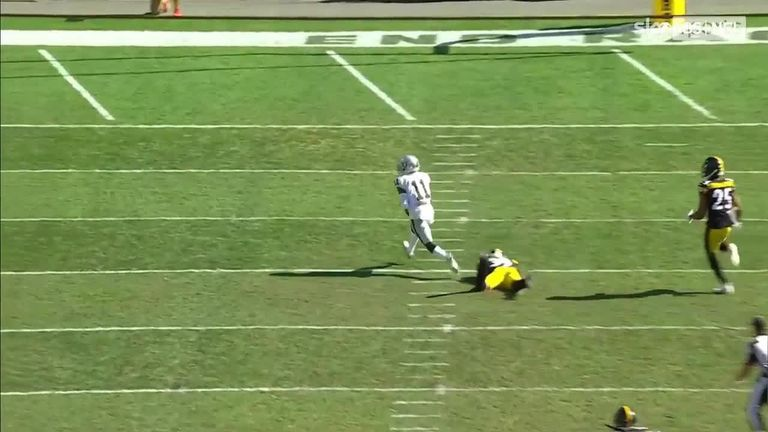 Las Vegas Raiders quarterback Derek Carr completed a 61-yard touchdown pass to wide receiver Henry Ruggs