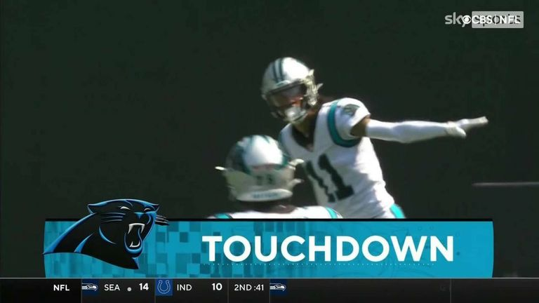 Sam Darnold hits Robby Anderson for a 57-yard touchdown to see Carolina extend their lead over his former Jets team