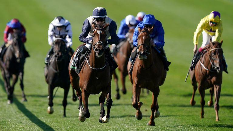 Forbearance ridden by Shane Foley (centre) wins The Unibet Princess Royal Stakes