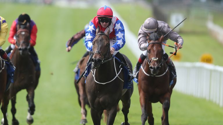 Gustavus Weston ridden by jockey Gary Carroll (second right) on their way to winning the Rathasker Stud Phoenix Sprint Stakes at Curragh Racecourse.