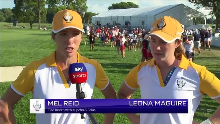 Leona Maguire said Europe's half-point against USA duo Lizette Salas and Jennifer Kupcho in the Solheim Cup fourballs almost felt like a win after Mel Reid birdied the 18th to win the hole.