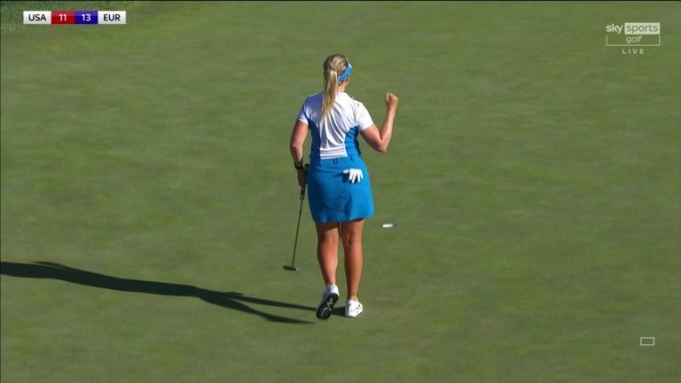 Matilda Castren holed the crucial putt as Europe reached 14 points to ensure they had retained the Solheim Cup against the United States