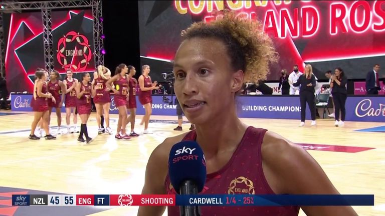 Serena Guthrie gives her reaction after England beat New Zealand to level the three-game series