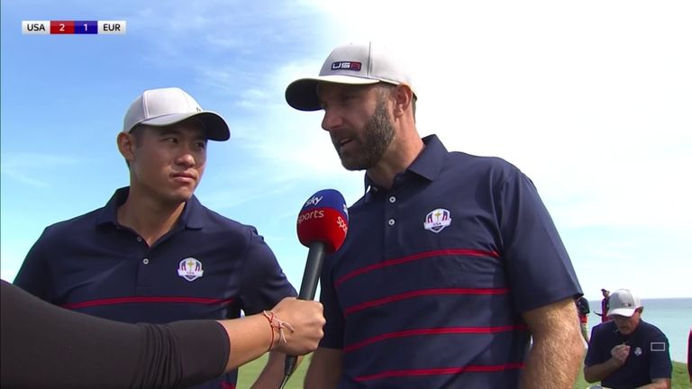 Collin Morikawa and Dustin Johnson discuss winning the first point for Team USA with a 3&2 victory over Paul Casey and Viktor Hovland at Whistling Straits