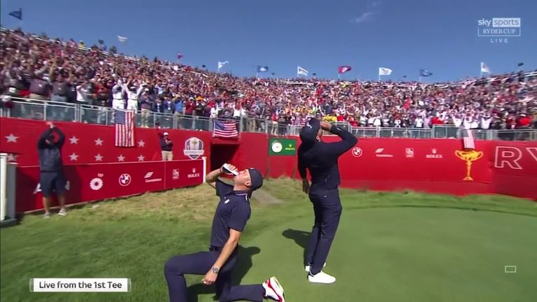 Justin Thomas and Daniel Berger were making the most of the party atmosphere at the first tee, downing beers and ramping up the home crowd!
