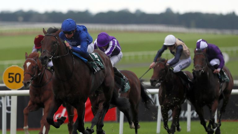 William Buick riding Native Trail to victory at the Curragh