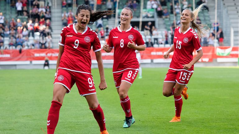 Nadia Nadim celebrates scoring for Denmark in a World Cup  qualifier in 2019 Pic: AP