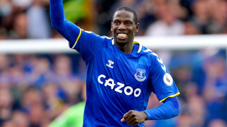 Abdoulaye Doucoure celebrates scoring Everton's second goal of the game