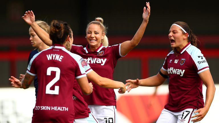 Adriana Leon celebrates scoring the opening goal against Aston Villa