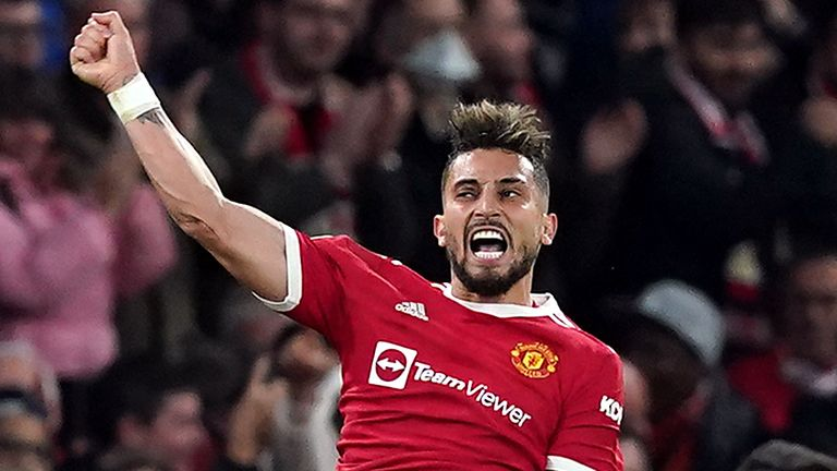 Manchester United's Alex Telles celebrates scoring their side's first goal of the game during the UEFA Champions League, Group F match at Old Trafford, Manchester. Picture date: Wednesday September 29, 2021