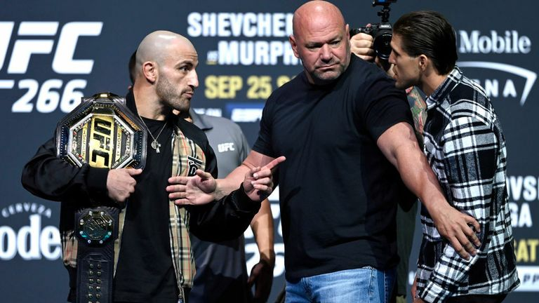 Opponents Alexander Volkanovski of Australia and Brian Ortega face off during the UFC 266 press conference at Park Theater at Park MGM on September 23, 2021 in Las Vegas, Nevada. (Photo by Jeff Bottari/Zuffa LLC)