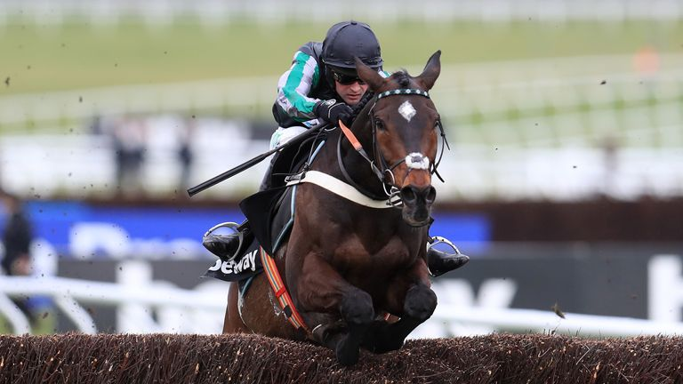 Altior and Nico de Boinville on their way to winning the 2018 Champion Chase