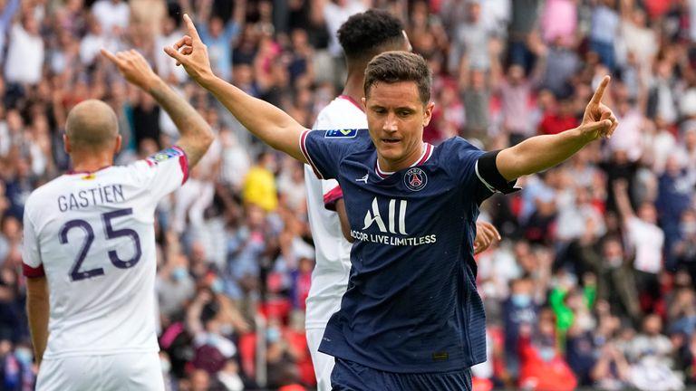 Ander Herrera celebrates giving PSG the lead
