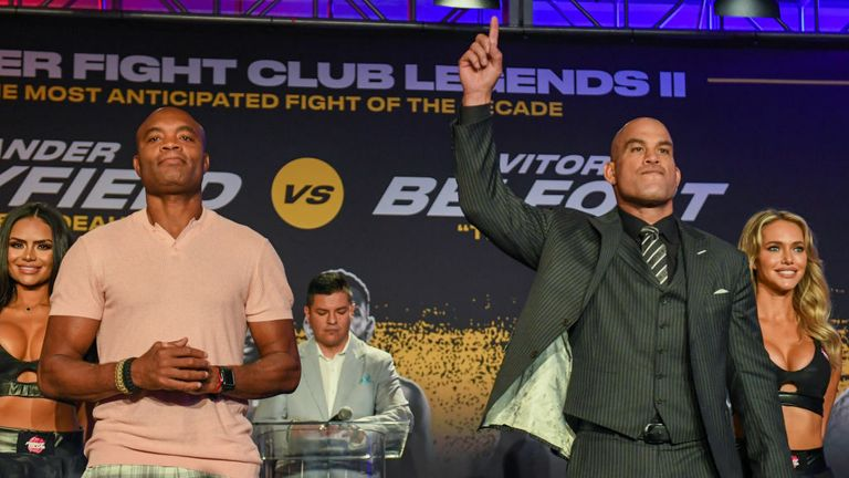 Anderson Silva (L) and Tito Ortiz pose during a press conference ahead of their cruiserweight fight on September 11 at The Harbor Beach Marriott on September 9, 2021 in Fort Lauderdale, Florida. (Photo by Eric Espada/Getty Images)
