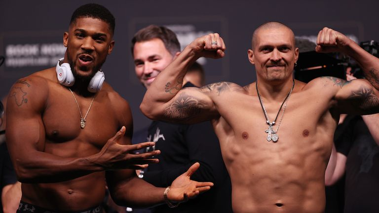 Anthony Joshua and Oleksander Usyk Weigh In ahead of their World Heavyweight Title clash tomorrow night at the Tottenham Hotspur Stadium in London.24 September 2021.Picture By EDDIE KEOGH Matchroom Boxing..The fighters face off.