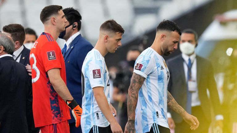 Argentina players leave the pitch against Brazil