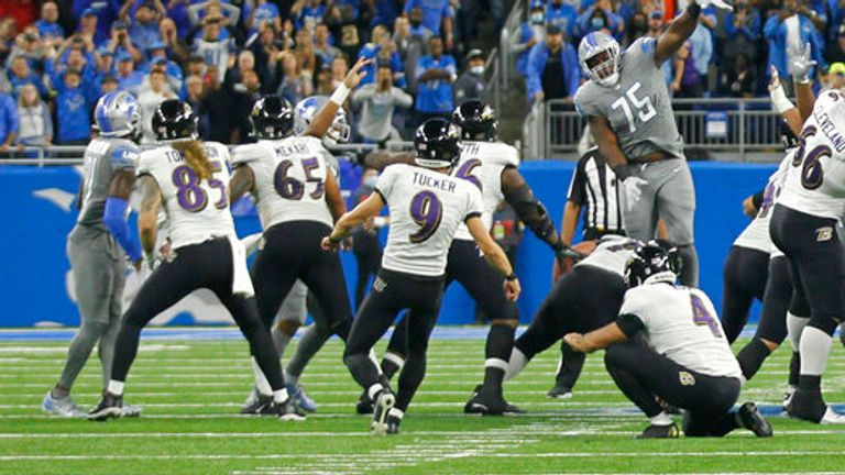 Watch Justin Tucker's NFL-record 66-yard field goal for the Baltimore Ravens against the Detroit Lions