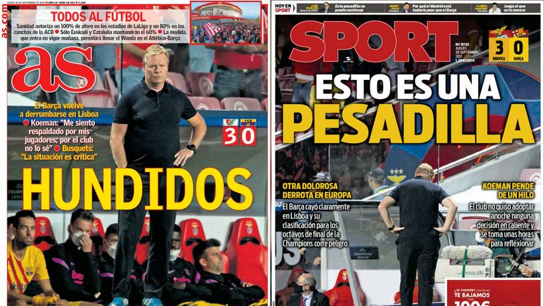 AS said Barca were 'sunk', while Sport led with the headline 'This is a nightmare'