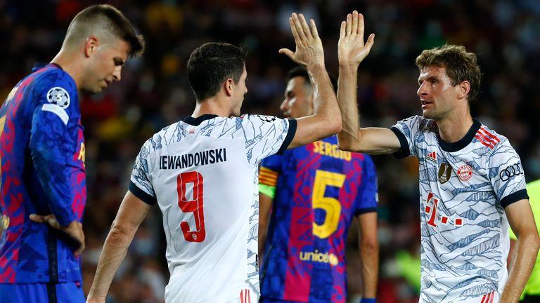 Thomas Muller and Robert Lewandowski scored the goals as Bayern eased past Barcelona