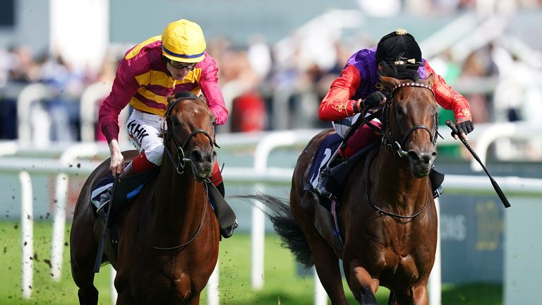 Bayside Boy (yellow cap) beats Reach For The Moon to win Doncaster's Champagne Stakes
