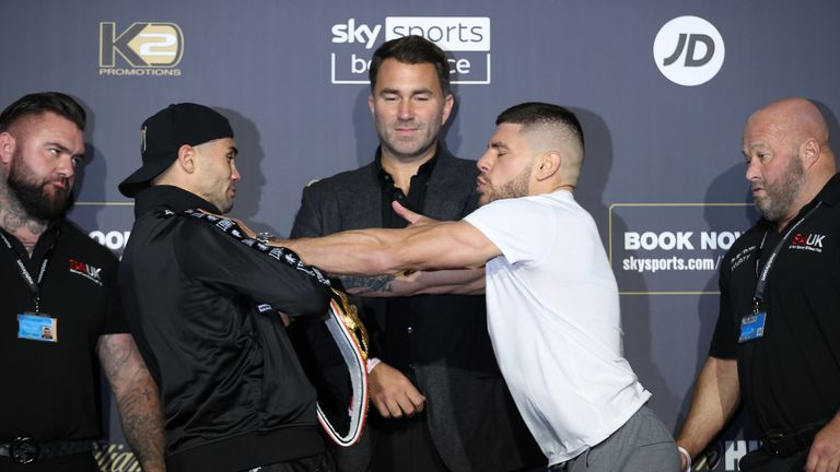 Florian Marku and Maxim Prodan Final Press Conference ahead of their IBF International Welterweight Title fight on saturday night at the Tottenham Hotspur Stadium in London 23 September 2021 Picture By Mark Robinson Matchroom Boxing.