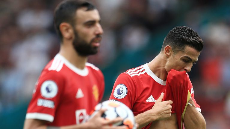 Cristiano Ronaldo watched on as Bruno Fernandes prepared to take the penalty (Getty)