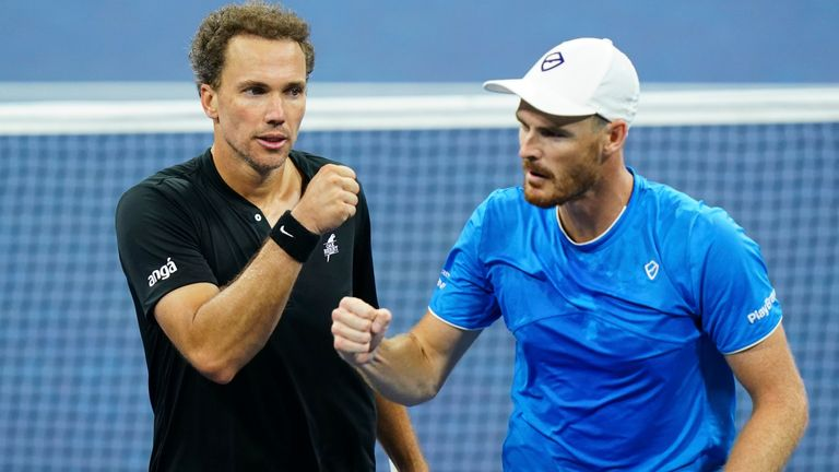 Bruno Soares (left) and Jamie Murray will face Rajeev Ram and Joe Salisbury for the US Open men's doubles title at Flushing Meadows (Manuela Davies/USTA via AP)