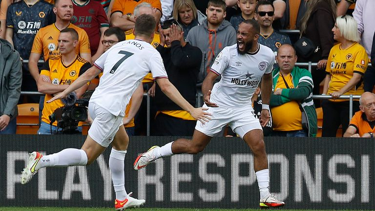 Bryan Mbeumo de Brentford celebra su gol (Darren Staples / CSM vía ZUMA Wire)