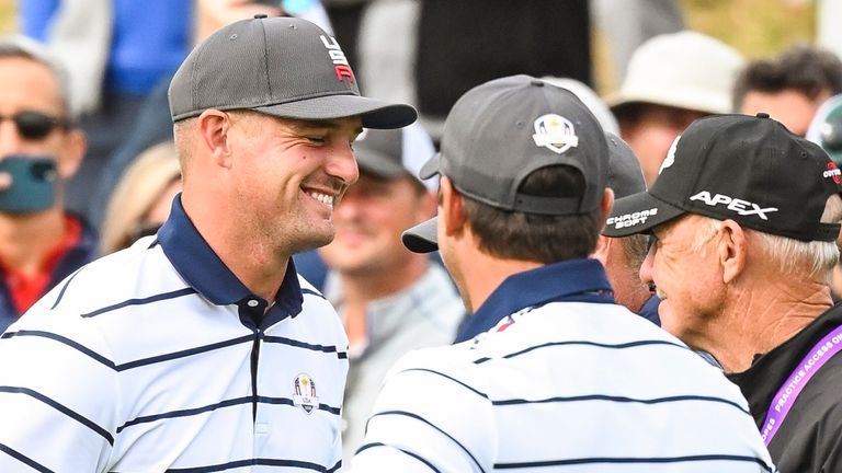 Bryson DeChambeau and Brooks Koepka were seen smiling together on the practice range ahead of the Ryder Cup