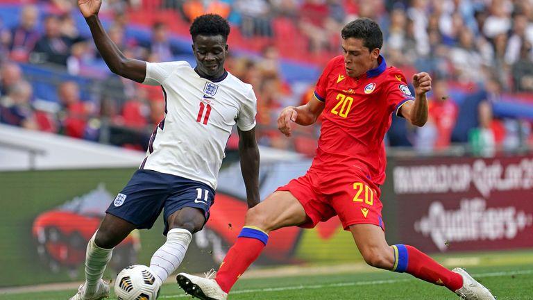 Bukayo Saka in action against Andorra