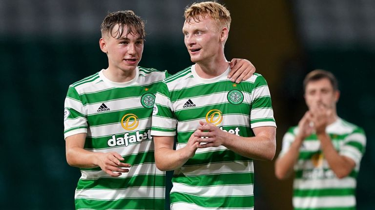 Celtic's Adam Montgomery (left) and Liam Scales celebrate Celtic's Scottish League Cup quarter-final win over Raith at Parkhead