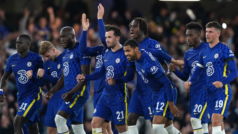 Chelsea celebrate their victory on penalties