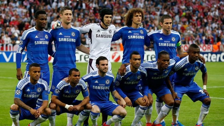 Bertrand (bottom left) had only made 12 starts for Chelsea before being named in their roster for the 2012 Champions League final