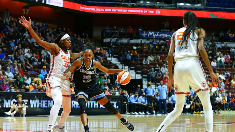 Chicago Sky forward/center Azurá Stevens (30) defended by Connecticut Sun forward Jonquel Jones (35) during game 1 of the WNBA semifinal between Chicago Sky and Connecticut Sun on September 28, 2021, at Mohegan Sun Arena in Uncasville, CT. (Photo by M. Anthony Nesmith/Icon Sportswire) (Icon Sportswire via AP Images)