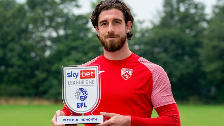 Cole Stockton of Morecambe wins the Sky Bet League One Player of the Month award - Mandatory by-line: Robbie Stephenson/JMP - 09/09/2021 - FOOTBALL - Lancaster University - Lancaster, England - Sky Bet Player of the Month Award