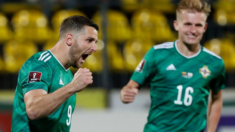 Conor Washington celebrates after his scoring from the penalty spot