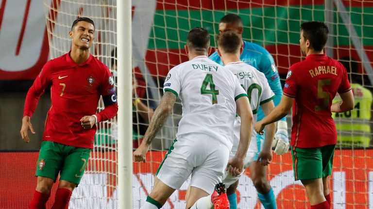 Cristiano Ronaldo reacts after missing a penalty for Portugal vs Republic of Ireland