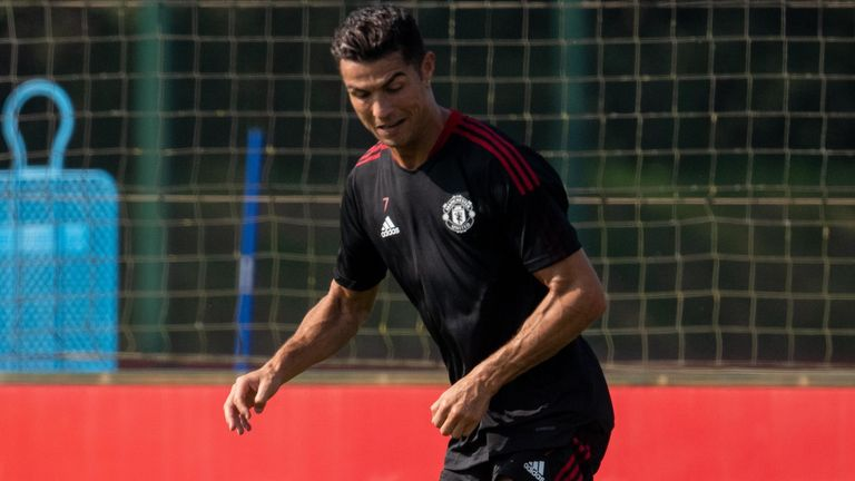Cristiano Ronaldo during his first training session with Manchester United after returning to the club