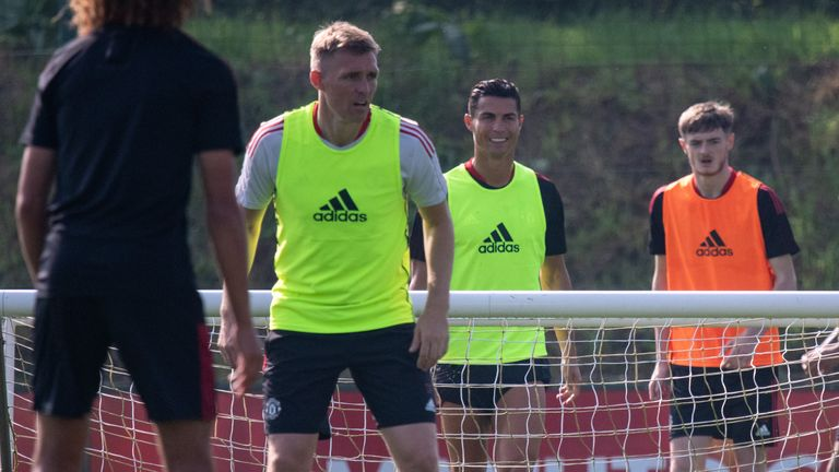 Cristiano Ronaldo during his first training session back with Manchester United