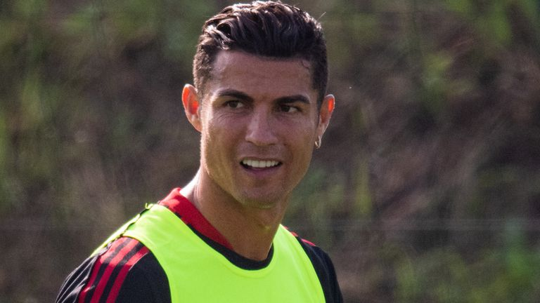 Cristiano Ronaldo trains with Manchester United for the first time after rejoining the club from Juventus