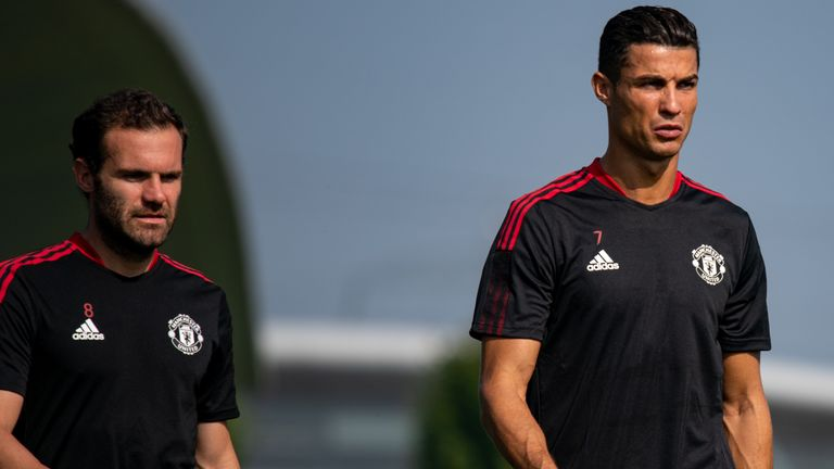 Cristiano Ronaldo with Juan Mata during his first training session back at Manchester United Cristiano Ronaldo trains with Manchester United ahead of Newcastle match on Saturday Cristiano Ronaldo trains with Manchester United ahead of Newcastle match on Saturday skysports cristiano ronaldo 5504159
