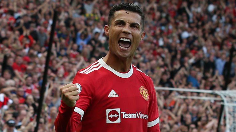 Cristiano Ronaldo celebrates scoring his second goal