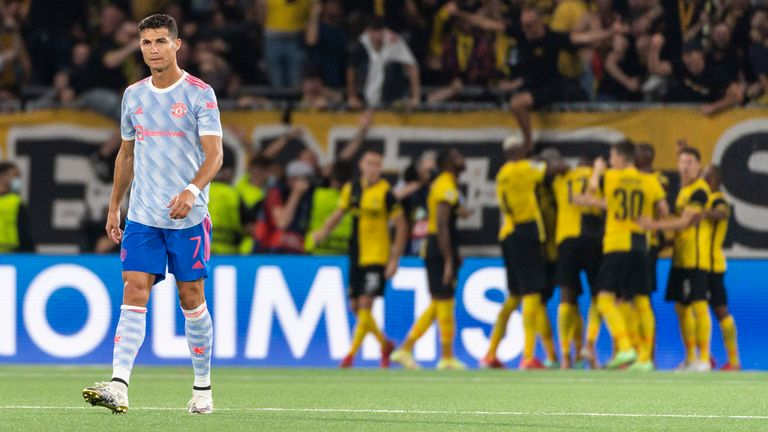 Manchester United's Cristiano Ronaldo, left, looks dejected after Young Boys scored