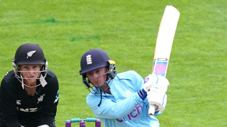 England's Danni Wyatt top-scored with an unbeaten 63 in the second ODI against New Zealand at Worcester
