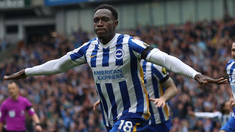 Danny Welbeck celebrates scoring for Brighton against Leicester