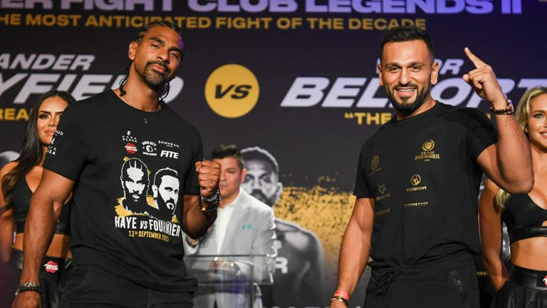 David Haye (L) and Joe Fournier pose during a press conference ahead of their fight on September 11 at The Harbor Beach Marriott on September 9, 2021 in Fort Lauderdale, Florida. (Photo by Eric Espada/Getty Images)