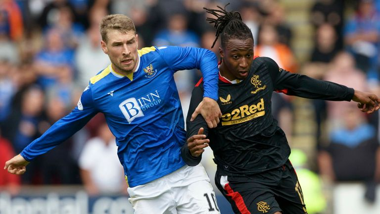 St Johnstone's David Wotherspoon (left) competes with Rangers' Joe Aribo
